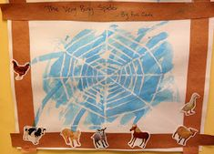 Preschool Ideas For 2 Year Olds, The Very Busy Spider by Eric Carle, crayon resist spiderweb, spider web, preschool farm theme Crafts For 2 Year Olds, Halloween Crafts For Toddlers, Fall Preschool, Preschool Themes, Teach Preschool, Eric Carle, Incy Wincy Spider Activities, Old Crayon Crafts, The Very Busy Spider