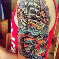 Traditional Navy half sleeve.