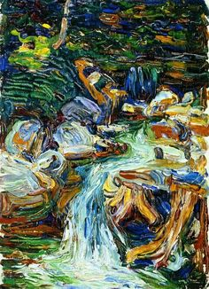 Wassily Kandinsky, Waterfall II, 1902 A strong and bold impasto painting that literally goes with the flow of the waterfall