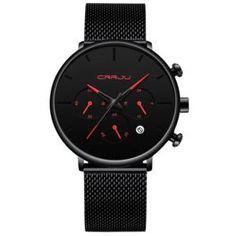 Shop Tineso Men's Black Minimalist Watch – BringWish Skeleton Watches, Casual Date, Men Casual, Waterproof Watch, Stainless Steel Mesh, Black Mesh, Watches For Men, Wrist Watches, Quartz Watch