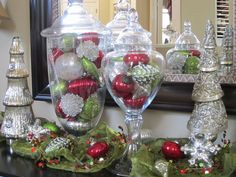 apothecary jar decorating ideas | Ornaments can be displayed in glass bowls, apothecary jars, silver ...
