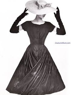 Love the dress *want* the Hat!!    Couture Allure Vintage Fashion: Givenchy Dress - 1955