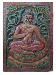 hand carved door panel by baydeals Wooden Wall Panels, Wood Panel Walls, Wooden Wall Art, Wood Paneling, Wood Wall, Buddha Sculpture, Hand Sculpture, Wall Sculptures, Buddha Home Decor