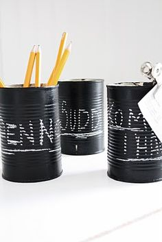 chalk paint cans- cool idea!