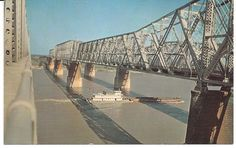 """Memphis Arkansas bridge, vintage scene--this is what is called the """"old bridge"""". Personally, I like it much better than the """"new one""""."""