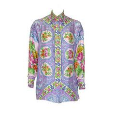 Gianni Versace Punk Silk Printed Shirt With Lace Back Spring 1994