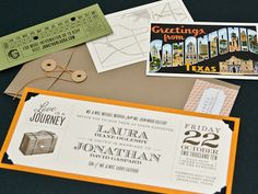 "Invitation Idea #05  ""Love is a Journey"" I like that. Tie string envelope, punch ticket, post card with map and invitation ticket. Ryan and I's favorite. Very fitting of the theme and has fun intricate details."