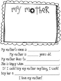All About Mom {Mothers Day Printable | Pinterest | Teacher, Craft And Youth  Activities