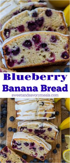 Blueberry Banana Bread [VIDEO] - Sweet and Savory Meals - - Blueberry Banana Bread is one of the best recipes to make with very ripe bananas. The bread is sweet, fluffy, tender, bursting with juicy blueberries and lemon flavor. Frozen Banana Recipes, Ripe Banana Recipe, Blueberry Banana Bread, Blueberry Recipes, Banana Bread Recipes, Banana Bread Glaze, Banana Bread With Blueberries, One Bowl Banana Bread, Cake Mix Banana Bread