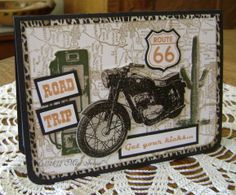 route 66 themed card using artistic outpost stamps
