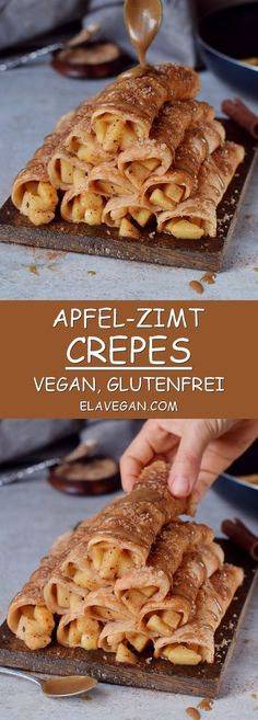 Delicious Apple Cinnamon Crepes which are vegan, gluten-free and easy to make. P… Delicious Apple Cinnamon Crepes which are vegan, gluten-free and easy to make. Perfect fall/winter recipe for the holiday season! Recipe for homemade caramel sauce included! Köstliche Desserts, Holiday Desserts, Dessert Recipes, Crepe Recipes, Holiday Treats, Holiday Recipes, Gluten Free Christmas Recipes, Irish Desserts, Easter Desserts