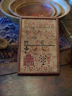 ANTIQUE ADAPTION~FOLKY CROSS STITCH ALAPHABET SAMPLER~ (LB) #NaivePrimitive