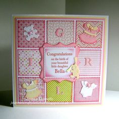New Baby Girl Card - Keeping it Plain and Simple, no Ribbon, Bows or Flowers on this one - Using Dies from Spellbinders Grand Squares, actually nearly all my cards have a Spellbinders Grand Square as a base layer and Labels Sixteen, Tonic Scalloped Squares, Memory Box Alphabet and Cottage Cutz baby Clothes....