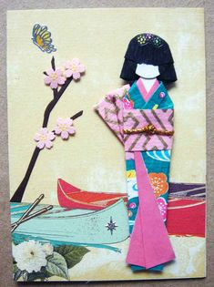 handmade card ... Japanese paper doll .. canoes ... like how the main elements forma triangle ...