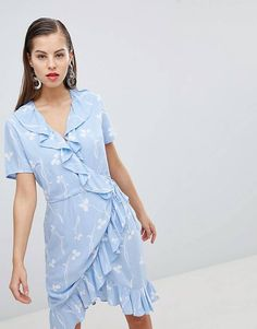 Y.A.S Clover Print Wrap Dress