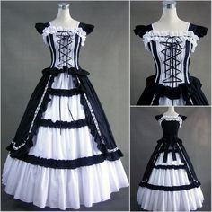 Freeship Victorian Lolit Gothic/Civil War Southen Belle Ball Gown... ❤ liked on Polyvore featuring dresses and victorian
