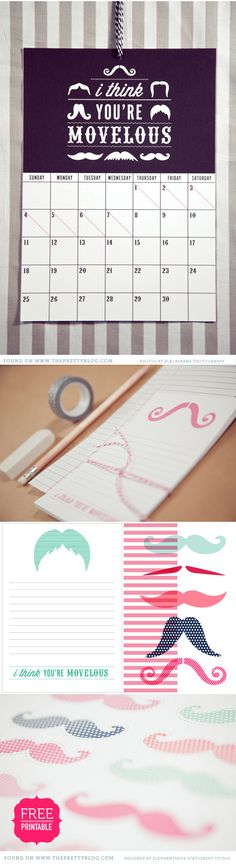 """""""I think you're Movelous"""" {Movember} free printables: calendar, tags, mustaches... #ProjectLife #365 http://www.theprettyblog.com/2012/11/movember-free-printables-calender-tags/"""