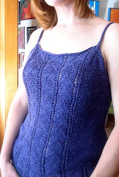 Free Knitting Pattern for Lace Camisole - Lace Nightie pattern Designed by Carrie Bostick Hoge. Pictured project by carinknits. Sizes Small - bust (M - L - Knitting Stiches, Baby Knitting Patterns, Free Knitting, Knit Wrap Pattern, Diy Tops, Sport Weight Yarn, Summer Knitting, Clothing Patterns, Lace Camisole