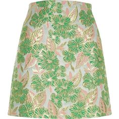 River Island Green and pink floral jacquard mini skirt (270 RON) ❤ liked on Polyvore featuring skirts, mini skirts, green, women, short mini skirts, short green skirt, green mini skirt, short skirts and floral skirt
