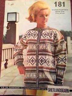 Kvina-koften 181 Fair Isle Knitting, Hand Knitting, Crochet Cardigan, Knit Crochet, Embroidery Patterns, Knitting Patterns, Norwegian Knitting, Fair Isles, Tapestry Weaving