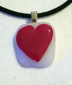 Fused Glass Heart Necklace Pendant-