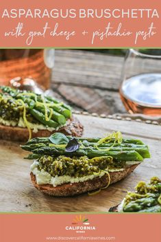 California's asparagus season is short so it's a good idea to get your fill while you can. When you crave a change-up from plain steamed or roasted asparagus, try this easy recipe: on top of crunchy toast with warm, creamy goat cheese and a dollop of fragrant pesto. Serve as a hearty appetizer at a dinner party or enjoy for lunch with a green salad and a glass of rosé or Riesling. #brunch #rosé #californiawines Vegan Food, A Food, Raw Pistachios, Pistachio Pesto, Healthy Foods, Healthy Recipes, California Wine, Best Appetizers, Vegan Recipes