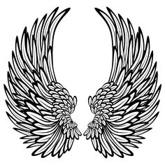 Wings drawing: angel wings with feathers wall stickers / wall decals. Angel Wings Drawing, Angel Wings Wall, Angel Coloring Pages, Coloring Pages For Kids, Tattoo No Peito, Cross Drawing, Bauch Tattoos, Wing Tattoo Designs, Wing Wall