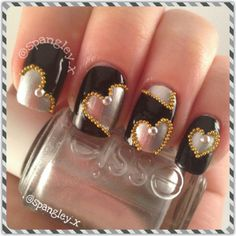 Some cute black and silver heart nails, injected with gold caviar - cant go wrong really. #SpangleyNails #Nailart #NOTD