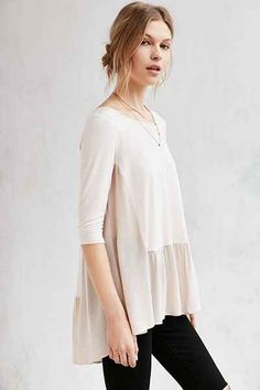 Silence + Noise Lisa Drop-Waist Tunic Top - Urban Outfitters