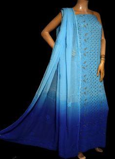 ISHIEQA's Pure Georgette Shaded Blue Mukaish Dress Material-MV1508D Chikankari Suits, Orange, Yellow, Blue, White P, Green Cotton, Green Dress, Kaftan, Pink Grey