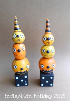 Halloween Pumpkin Stack polymer clay folk art by indigotwinholiday, $18.00