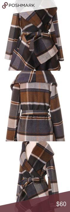 Plaid tie coat. Nice plaid coat. Warm. Nice fall colors. New with tags. Size Medium. Jackets & Coats Pea Coats