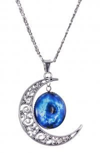 STEAMPUNK STORY Necklace silver crescent moon with with blue galaxy picture Halloween Jewelry, Halloween Gifts, Galaxy Pictures, Silver Necklaces, Moon, Pendant Necklace, Blue, Round Pendant, Blue Lips