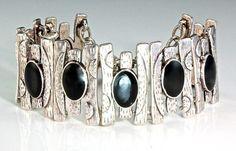"""Date Night"" - Oxidized Silver and Onyx Cuff Bracelet"