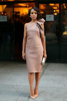 2013: Kerry Washington's Year of Scandalous Style: Kerry Washington delivered quiet drama in her sandy one-shouldered, knee-length dress and matching tan pumps at an Elle and Tod's party in NYC.   David X Prutting/BFAnyc.com