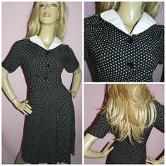 Vintage 30s 40s Black White POLKA Dot Contrast Collar TEA Colletto A  Contrasto be828a9a64e4