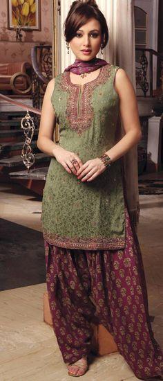 $113.24 Mehendi Sleeveless Faux Georgette Punjabi Salwar Kameez 14063