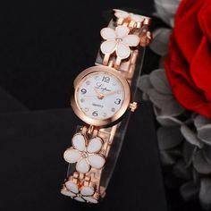 Luxury Crystal Gold Watches  Fashion Bracelet Quartz Wristwatch Rhinestone Fashion Watch Stainless Steel Alloy, Gold Watches Women, Elegant Flowers, Flower Bracelet, Fashion Watches, Fashion Bracelets, Bracelet Watch, Jewelry Watches, Like4like