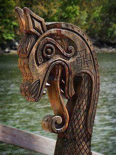 Dragon head on modern day viking ship recreation.