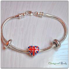 Union jack  heart bracelet