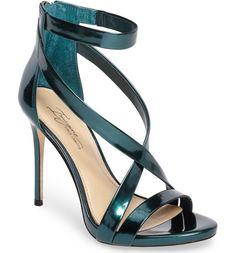 "magine Vince Camuto ""Devin"" deep-emerald-specchio (mirror-finished) open-toe ankle strap stiletto-heeled sandal"