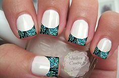 Nail Art Decals French Tip Camo Teal  Black ** Check this awesome product by going to the link at the image.
