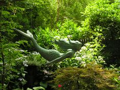 The Secret Gardens of Newport Secret Garden.mermaids are beautiful in the garden. Garden Whimsy, Diy Garden, Dream Garden, Shade Garden, Garden Art, Garden Landscaping, Garden Cottage, Garden Pond, Lush Garden