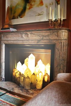 NYC Top Decorators - Kips Bay Show House - House Beautiful...love the idea of displaying crystals in a fireplace