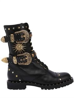 FAUSTO PUGLISI - 20MM BUCKLES & STUDS LEATHER COMBAT BOOT - BLACK