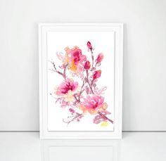 Pink Branch Original Watercolour Artwork Floral by SCSArtGallery