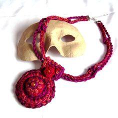 India Fiber Art Crochet Necklace by HEraMade on Etsy, $60.00