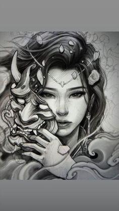 Geisha Tattoo Design, Japan Tattoo Design, Tattoo Design Drawings, Tattoo Sketches, Old School Tattoo Designs, Japanese Tattoo Designs, Japanese Tattoo Art, Japanese Sleeve Tattoos, Gott Tattoos