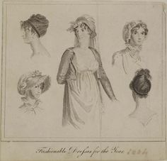 Museum of London | ENGRAVING Fashionable Head Dresses of the Year 1802 Maker: The Ladies' Own Memorandum Book Production Date: 1802 ID no: 2002.139/1295