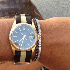 Stunning Rolex Datejust 18K Gold on a NATO 16238 - WRISTPORN™